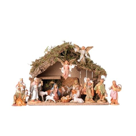 fontanini 16 piece nativity set with italian stable 5