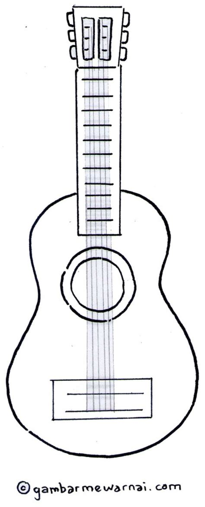 gambar mewarnai gitar gambar mewarnai