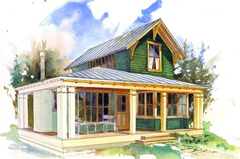 one bedroom 1 5 bath cabin with wrap around porch and cottage style house plan 1 beds 1 5 baths 780 sq ft plan