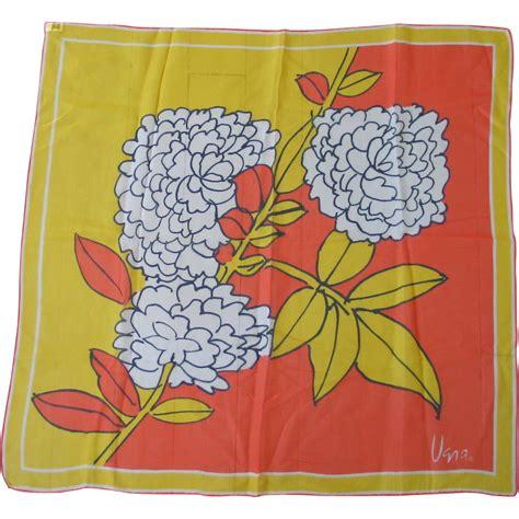 Stelan L Orange Print Flower vintage 1960s vera verasheer mod flower print scarf orange yellow from vintagemerchant on ruby