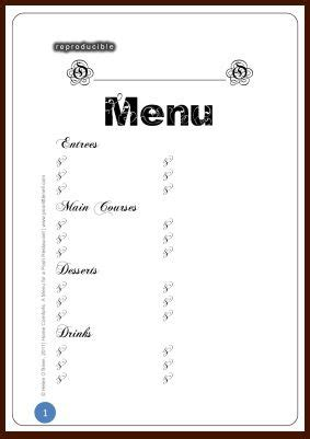 free menu templates printable 6 best images of printable blank restaurant menus free