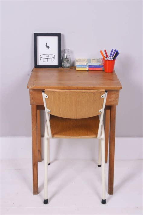 children s vintage single wooden school desk blue ticking