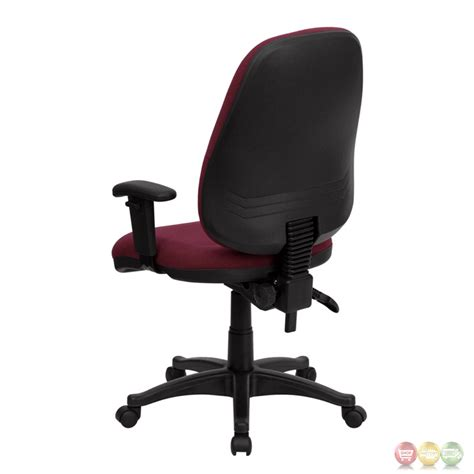 high back burgundy fabric ergonomic computer chair with