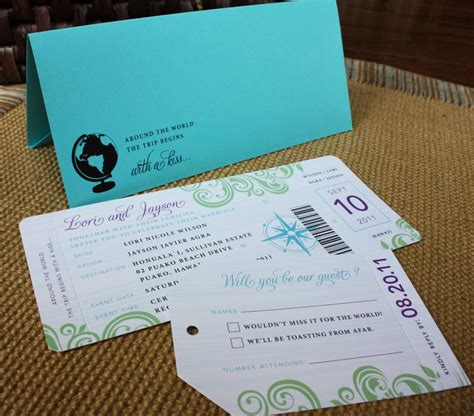 destination wedding invitations turquoise purple and green travel themed boarding pass