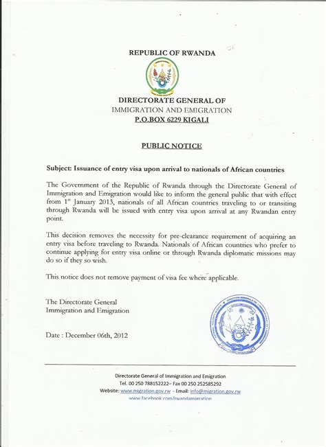 Invitation Letter For Visa Rwanda Visa