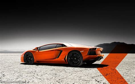 Lamborghini Aventador In Orange Wallpaper Lamborghini Aventador Back View