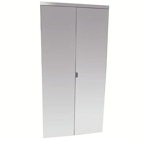 60 Bi Fold Closet Doors Impact Plus 60 In X 96 In Beveled Edge Mirror Solid Mdf Interior Closet Bi Fold Door With