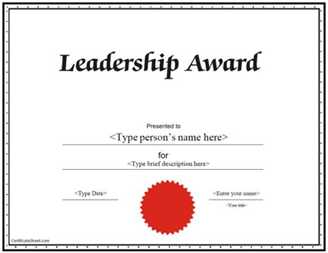 Education Certificates Leadership Award Certificate Certificatestreet Com Leadership Certificate Template Free