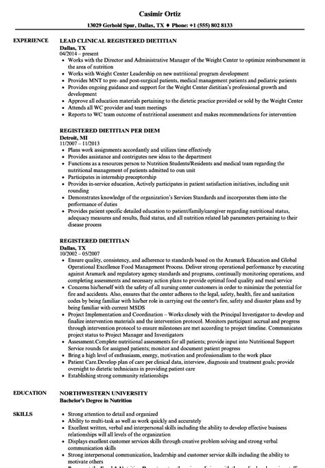 Clinical Dietitian Resume by Registered Dietitian Resume Sles Velvet