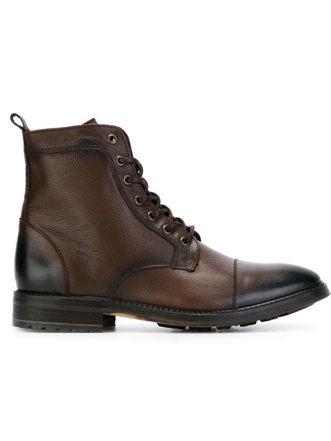 armani boots for lyst armani lace up boots in brown for