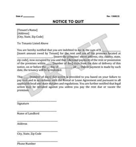 Notice To Quit Legal Templates Pay Or Quit Notice Virginia Template