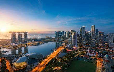 wallpaper singapore panorama  city lake field
