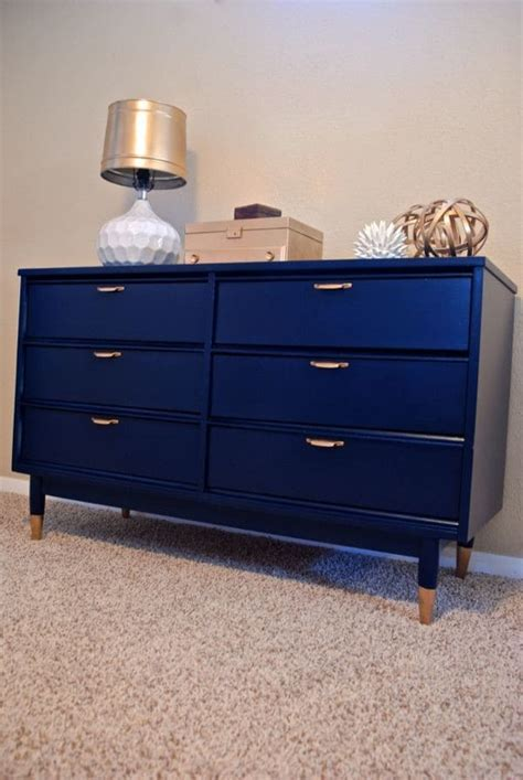 Gold Dipped Dresser by Navy Mid Century Dresser Re Do With Gold Dipped Legs