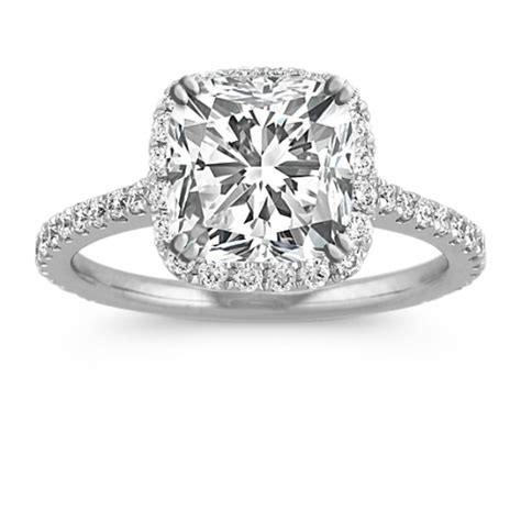 halo engagement ring for 2 00 carat cushion cut