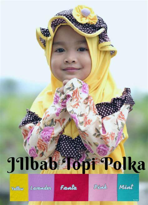 jilbab anak topi polka jilbab instan