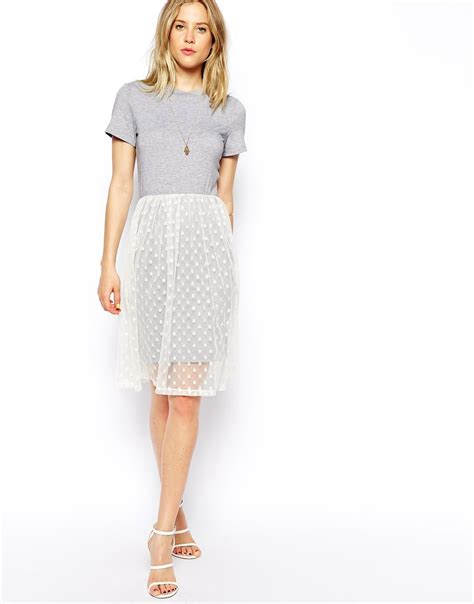 asos midi dress with tshirt and spot mesh skirt in gray