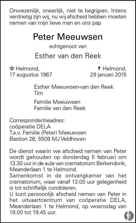 Peter Meeuwsen 29-01-2015 overlijdensbericht en