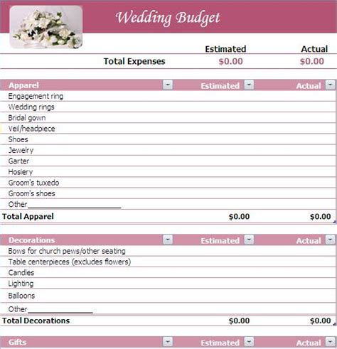 Wedding Planner Template wedding budget wedding budget list a2zweddingcards