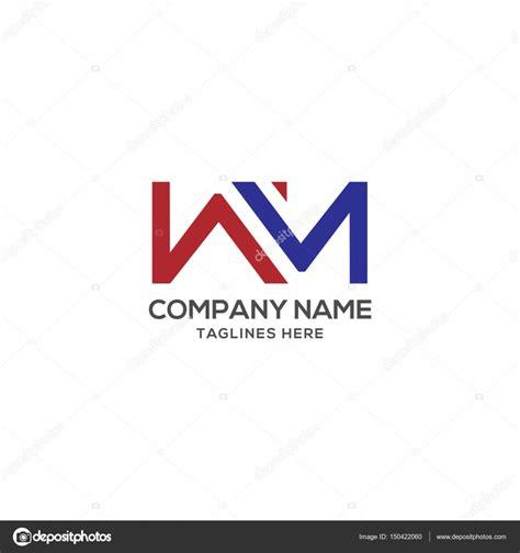 letter template design vector wm letter logo design vector illustration template stock
