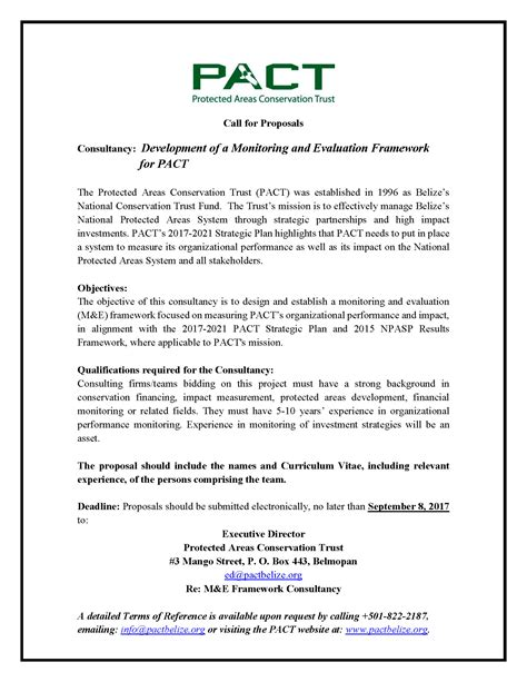 sle of monitoring and evaluation report vacancies pact protected areas conservation trust