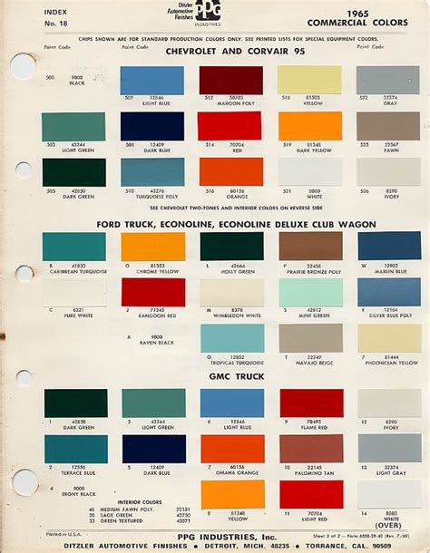 colors fabrics from showroom features album 1965 paint color codes images frompo
