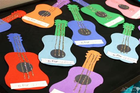 guitar craft for g is for guitar letter craft ideas grade blue