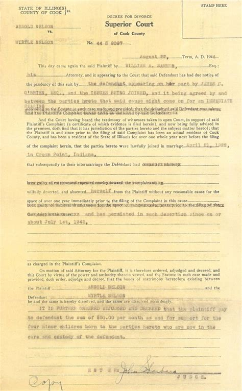 Chicago Cook County Divorce Records Connie Nelson S Genealogy Decree For Divorce Index