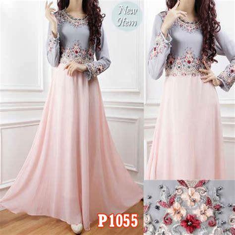 gambar bj pesta kain sipon gaun pesta cantik maura p1055 model baju muslim modern