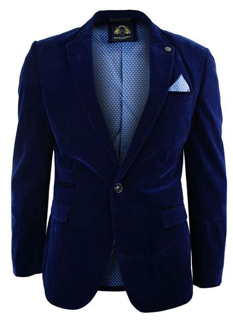 Vs Bz Blazer Navy Lis Abu mens velvet royal blue blazer jacket slim fit smart casual navy trim ebay