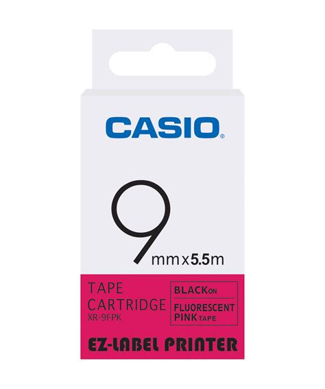 Casio Label Xr 9fpk 9mm Black On Fluorescent Pink casio xr 9fpk label printer fluorescent buy xr 9fpk