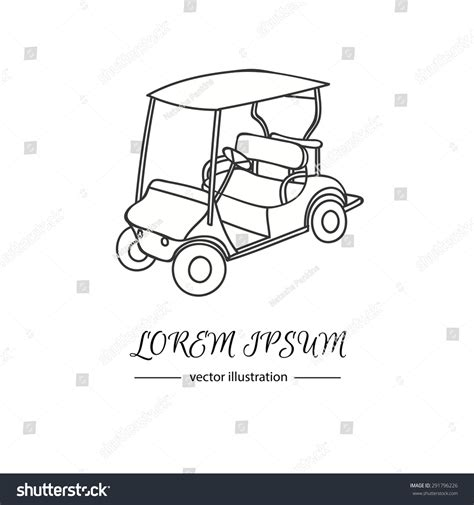 Hand Drawn Icon Golf Cart Isolated Stock Vector 291796226 Shutterstock Golf Cart Sign Template