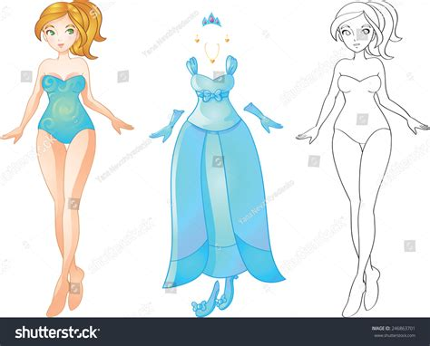 paper doll outfits stock photo image 36574600 vector illustration game paper doll blonde stock vector
