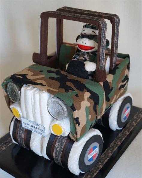 jeep cake tutorial camouflage jeep diaper cake www facebook com