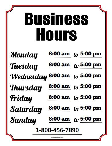 hours of operation template business hours sign template
