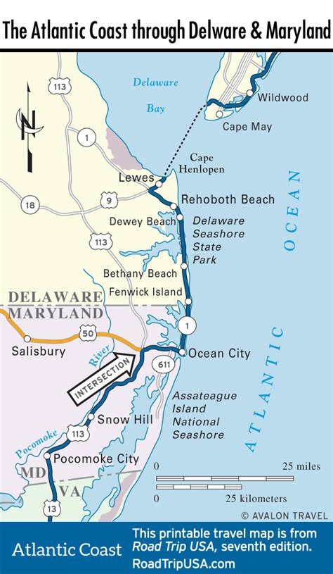 map of delaware cities the atlantic coast route through maryland road trip usa
