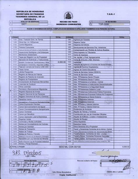 formulario tgr 1 secretaria de finanzas repblica de tgr 1 honduras 01 recibo tgr 1 pagado