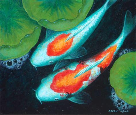 acrylic painting koi fish koi original acrylic painting from edoenkangfineart on etsy