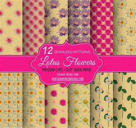 12 free seamless paper patterns graphicsfuel 12 lotus flower backgrounds photoshop free brushes