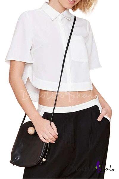 Collar Crop Baju Rajut Blouse plain point collar sleeve crop shirt with dip hem beautifulhalo