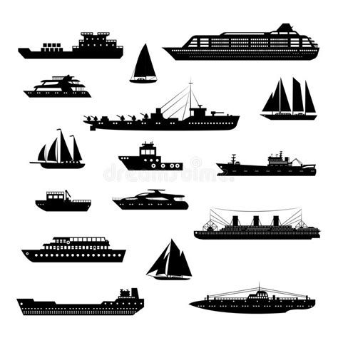 boat icon black and white ships and boats set black and white stock vector image