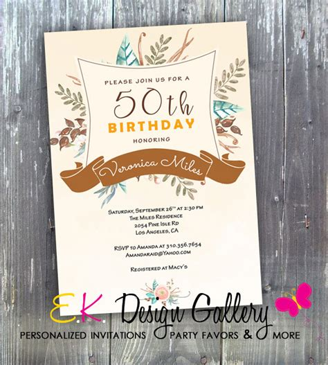 printable elegant birthday invitations 50th birthday party invitation elegant floral birthday