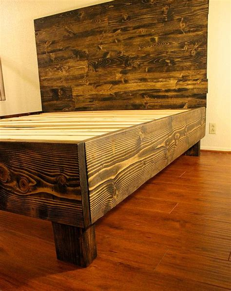 Reclaimed Wood Platform Bed Frame Rustic Solid Wood Platform Bed Frame Headboard