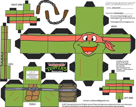 Turtle Papercraft - tmnt3 michelangelo cubee by theflyingdachshund on deviantart