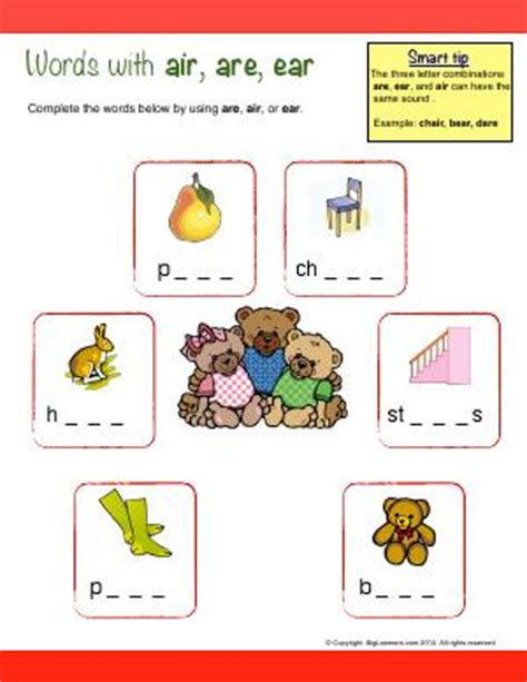 air pattern words r controlled patterns second grade english worksheets