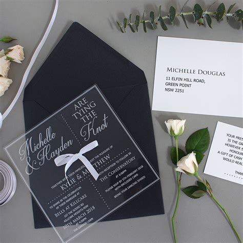 Limited Edition Engraved Square Clear Acrylic Wedding Invitation Package with RSVP, Wishing Well