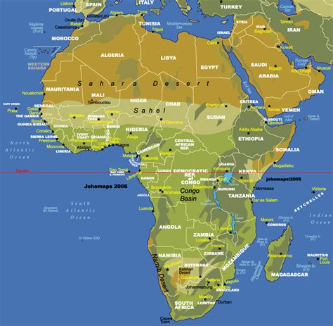 geographic map of africa physical map of africa