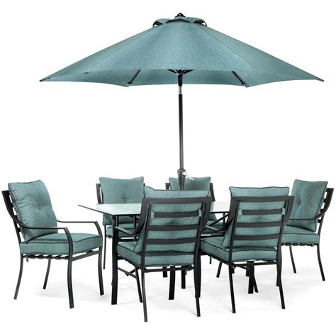 Outdoor Patio Dining Sets With Umbrella Hanover Lavallette Black Steel 7 Outdoor Dining Set With Umbrella Base And Blue