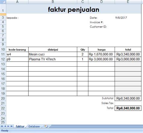 membuat invoice menggunakan excel membuat faktur penjualan menggunakan vlookup di excel 2007