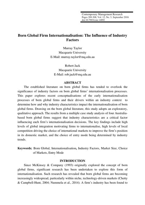 born global characteristics born global firm internationalisation the influence of