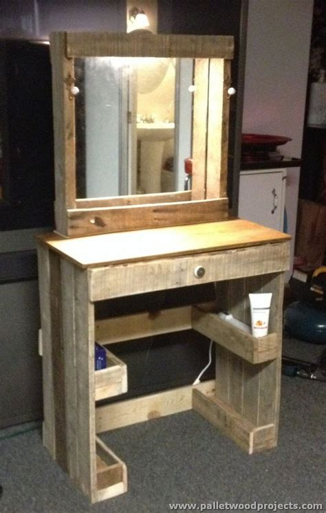 Makeup Vanity Blueprints Pallet Dressing Tables With Mirror Pallet Wood Projects